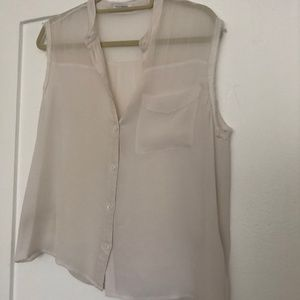 Equipment Sheer White Tank Top - S